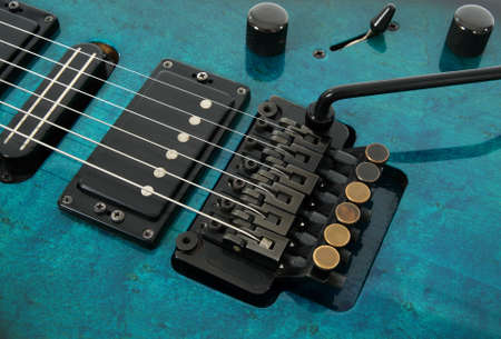 pickups: Electric guitar tremolo system and pickups.