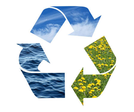 Conceptual recycling sign with images of nature, isolated on white. photo