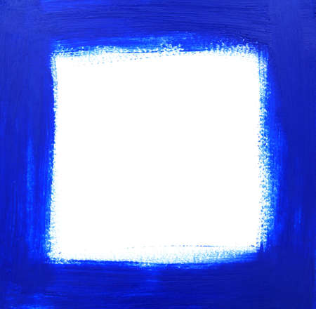 paints: Rough blue oil-painted frame with space for copy.