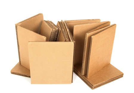 Cardboard with copy space, on white background. photo