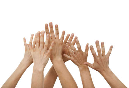 Raised hands, greeting or asking for help, isolated on white. Stock Photo - 4886350