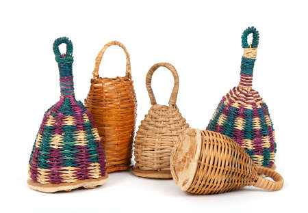 Colorful caxixi shakers, traditional Afro-Brazilian musical instruments. photo