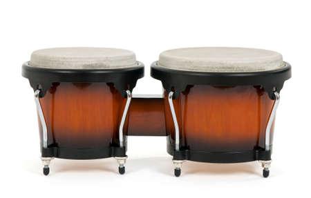 bongos: Bongos on white background. Latin percussion instrument.