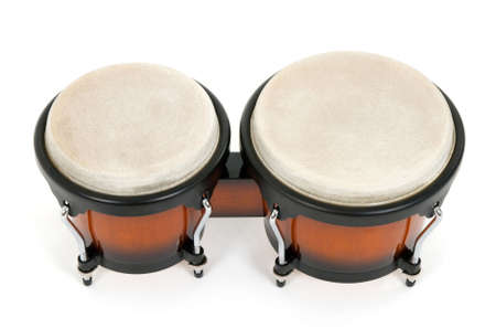 Bongos, Latin percussion instrument, isolated on white. photo