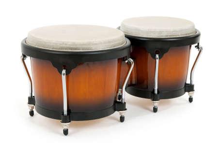 Bongos on white background. Latin percussion instrument.