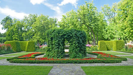 Beautiful ornamental garden in classical style. photo