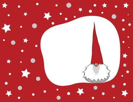 Grappig winter gnome op een rode achtergrond voor Kerst mis.