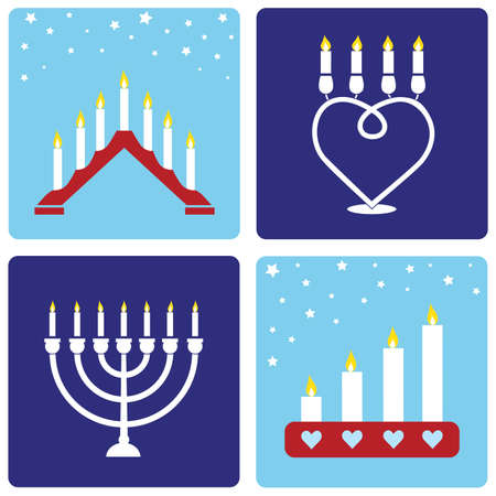 Four traditional Christmas candleholders on blue background.