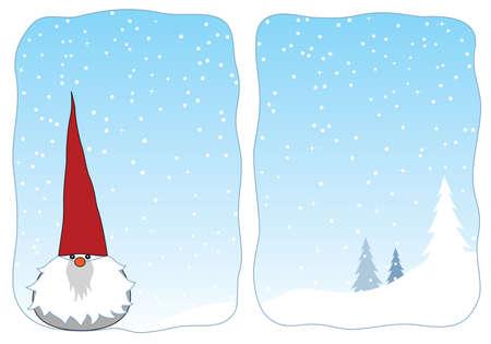 かわいい冬雪ウィンドウの gnome。  イラスト・ベクター素材