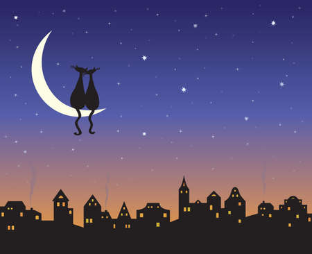 Two loving cats on a moon above the night city skyline.