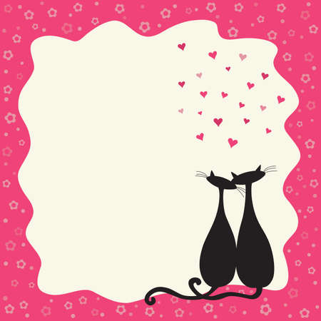 Two cats in love in a retro frame with copy space. Illustration