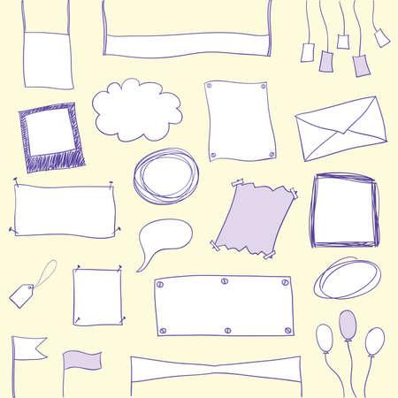 手描きの落書きバナー、フレームおよびコピー スペースを持つ図形。