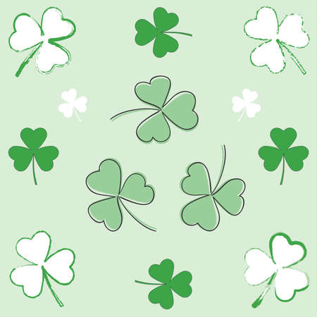 Set of paintbrush and hand-drawn shamrocks for St-Patricks day. Ilustração