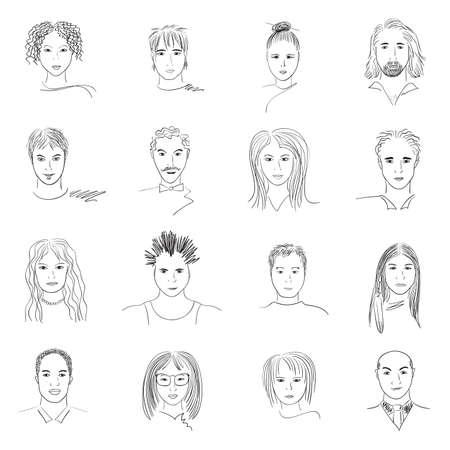 Doodle disegnati a mano volti di persone di nazionalità e stili diversi. Archivio Fotografico - 6509594