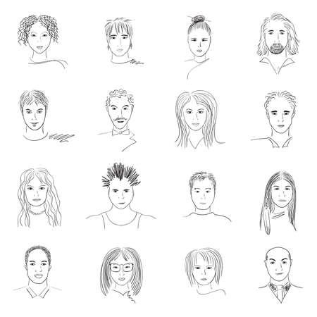 Hand-drawn doodle faces of people of different styles and nationalities. Ilustração