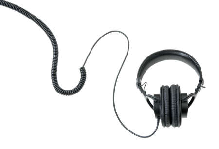 earphone: High-quality headphones with long cable isolated on white background.