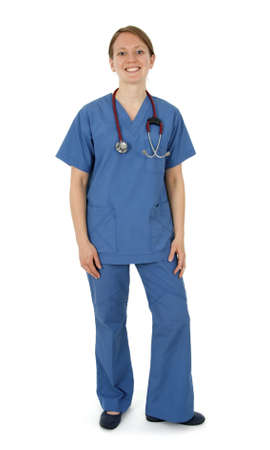 Happy young nurse in blue uniform, on white background. photo