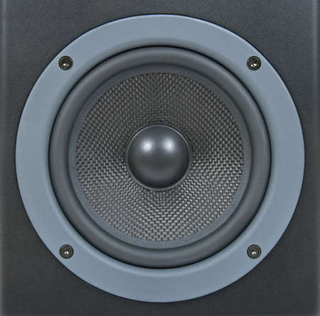 loud: Closeup of a black professional loud speaker.