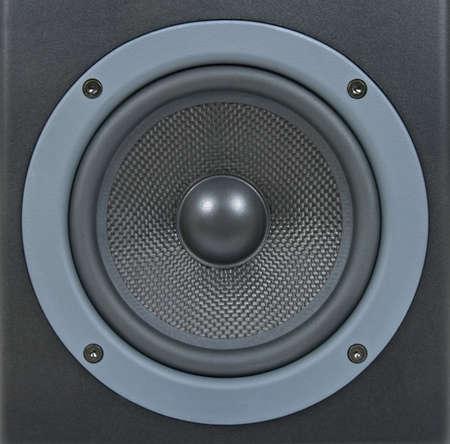 loud speaker: Closeup of a black professional loud speaker.