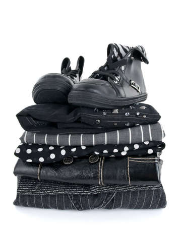 gray clothing: Stylish black clothing and a pair of boots on white background.