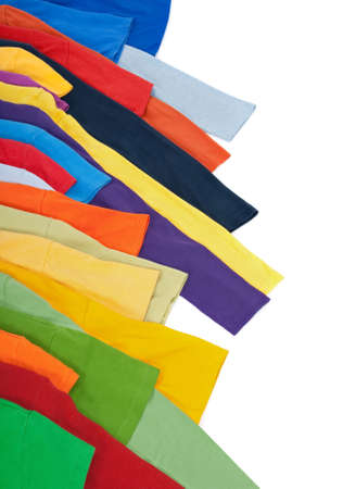 Sleeves of bright multicolored clothing, isolated on white background. Stock Photo - 8189013