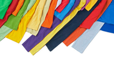 Sleeves of bright clothing of different colors, isolated on white background. photo