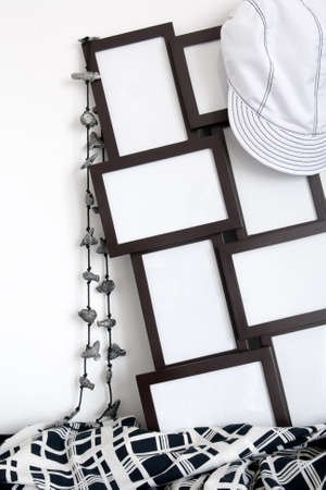 Black and white clothing and photo frames with copy space.  photo
