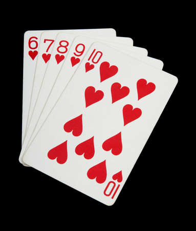 Hearts - playing cards on black background