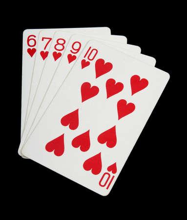 Hearts - playing Cards auf schwarzem Hintergrund Standard-Bild - 8914509
