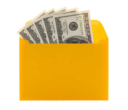 Money in a bright yellow envelope, isolated on white background. Stock Photo - 9171443