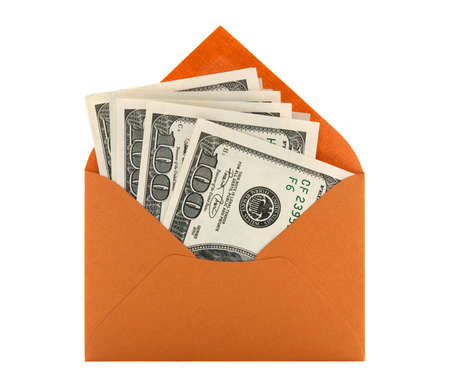 Money in a bright orange envelope, isolated on white background.
