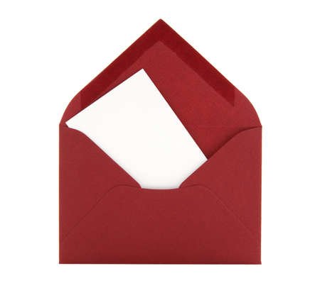 envelope: Blank card with space for text in a red envelope, isolated on white background. Stock Photo