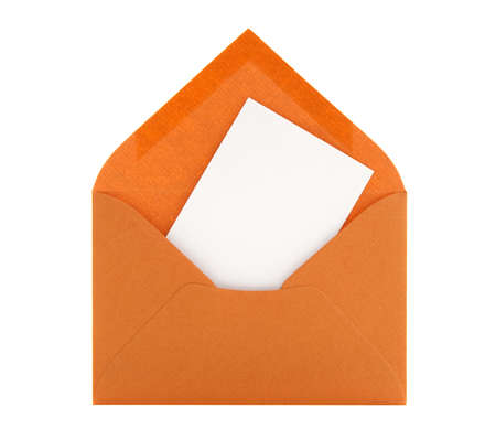 Blank card with space for text in an orange envelope, isolated on white background. photo