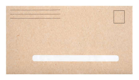 envelope: Brown envelope with blank space for address, isolated on white.