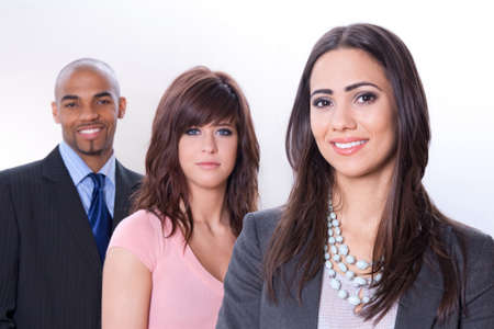 multi race: Multicultural business team, three smiling young people.