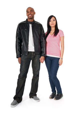 multi race: Interracial couple - African American guy with Asian girlfriend. Stock Photo