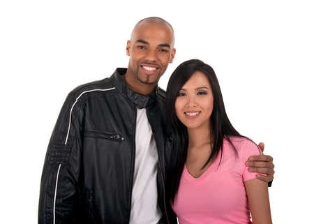 mixed ethnicities: Happy interracial couple - Asian girl with African American boyfriend. Stock Photo