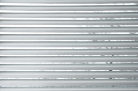 venetian blind: Semi-closed metallic blinds on a window, with a tree seen through them