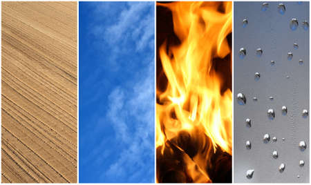 heaven on earth: Four elements of nature  Earth, air, fire and water  Stock Photo