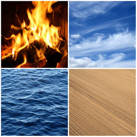 with sets of elements: Four elements of nature  Fire, water, air and earth