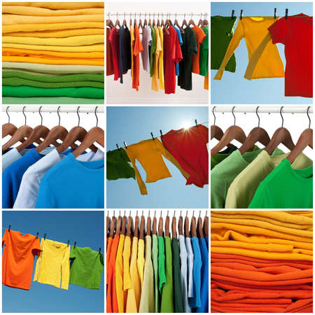 Variety of multicolored casual clothing and colorful laundry  Imagens