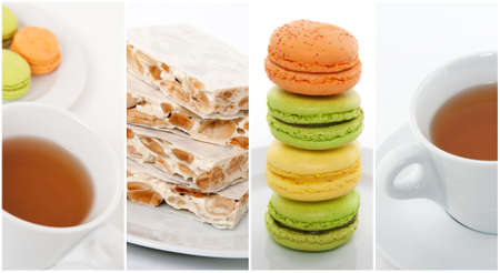 Cup of tea with gourmet dessert, French macarons and Spanish turron  photo