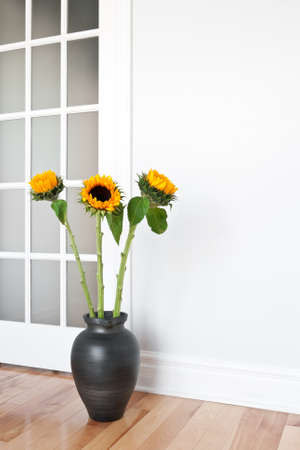 glass doors: Bright sunflowers decorating a contemporary room
