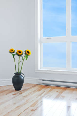 Sunflowers in a vase, decorating an empty room with big window  Stock Photo - 16368016