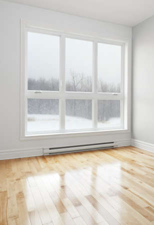 white wood floor: Winter landscape seen through the big window of an empty room