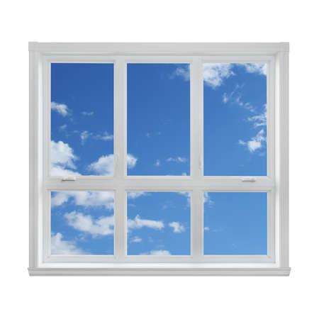 Blauwe hemel met wolken gezien door het raam Stockfoto