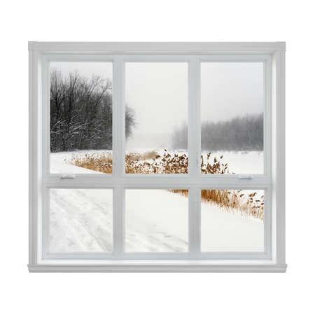 Snowy winter landschap gezien door het raam