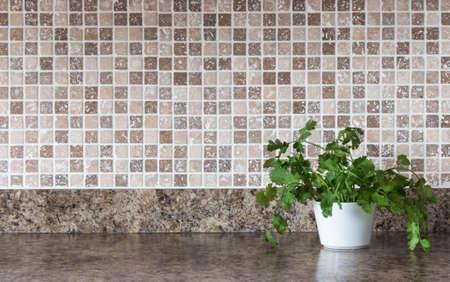 White pot with green herbs on kitchen countertop  Standard-Bild