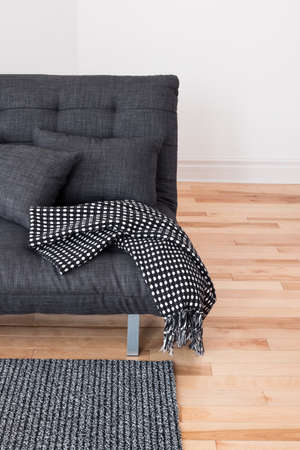 futon: Gray sofa with cushions and throw. Living room detail.