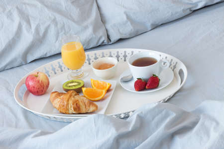 Breakfast in bed  Tray with healthy morning meal  photo